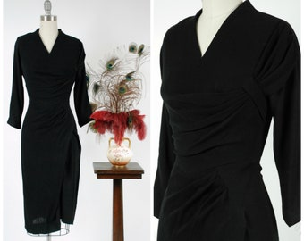 Vintage 1950s Dress - Rare Exquisite Draped Dorothy O'Hara 50s Cocktail Dress with Bodice Sash and Side Drape
