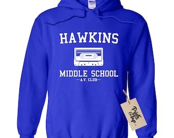 Hawkins Middle School AV Club Hoodie / Hooded Sweatshirt - Stranger Sweater Pullover - Unisex Fit - Ultra Soft