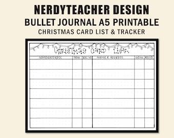 Bullet Journal Christmas Card List and Tracker