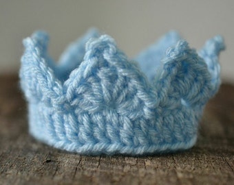 Little Prince Set - Crown and Diaper Cover Set - Crochet Crown and Diaper Cover Photo Prop  Set for Newborn Boys - Custom Colors Welcome