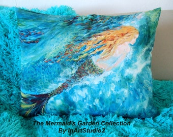 Mermaid Pillow 16x20 from The Mermaid's Garden Collection, Stuffed and Ready for Mermaid Dreaming