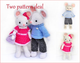 Toy knitting patterns-Two pattern deal-Little mice Lilly and Peter knitted toys-Amigurumi patterns-ElvesWorld toys-knit patterns