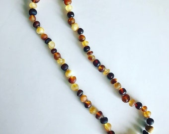 Raw Amber Teething Necklace - Multi Color