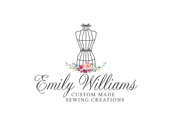 Sewing logo premade floral dress form logo design 265