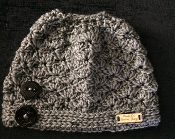 Shell Stitch Messy Bun Beanie