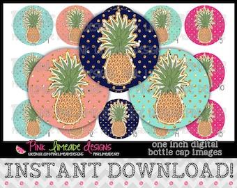 "Glitzy Pineapples - INSTANT DOWNLOAD 1"" Bottle Cap Images 4x6 - 821"