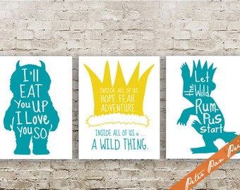 Where the Wild Things Are - Set of 3 Art Print (Unframed) (featured in Ocean on Yellow) Peter Pan Prints