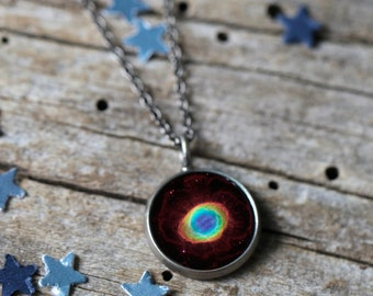 Ring Nebula Pendant - Galaxy Space Necklace - Antique Silver or Bronze - Cosmos Jewellery, Outer Space, Nebulas, Universe Science Gift