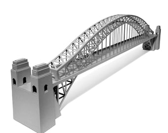 Sydney Harbour Bridge, hand assembled architectural paper scale model || 24 inches long || choose metallic silver or white
