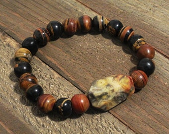 Mens Koroit Boulder Opal and Crazy Lace Agate Stretch Stack Bracelet