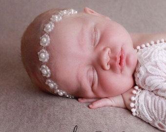 Newborn headband in white plastic, christenings, baptism, birthday, photoshoot by Lil Miss Sweet Pea