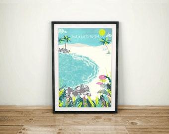 Beach Is Good For The Soul Art Print / Sandy Beach Cove / Beach Illustration / Digital Wall Art / A4 Art Print