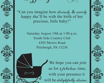 Custom Breakfast at Tiffany Baby Shower theme Invitation