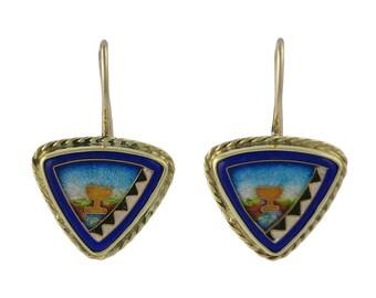 Unsigned Falcher Fusager 18K Gold Enamel Earrings