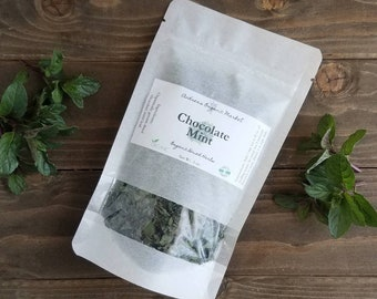 Organic Dried Chocolate Mint, Loose Leaf Tea Herb, Organic Dried Herb, Chocolate Mint Tea,  Herbal Tea Leaf, Organic Dried Herbs, Mint Tea