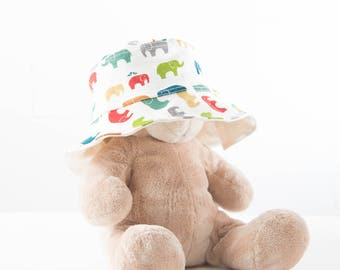 Reversible Sun Hat - Certified Organic Cotton - Multi-Elephants & Natural Reverse / Baby sunhat / Toddler sunhat / baby summer hat