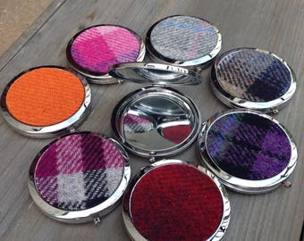 Tweed compact mirror gift beauty make up mirror