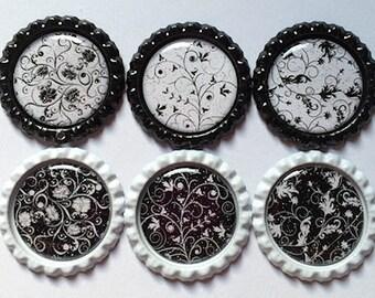 Fridge Magnets Locker Office Black and White Floral Swivel Zipper Pull Keyring Bookmark