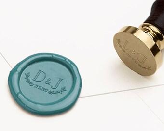 Monogram Wax Seal Stamp, Laurels Wax Stamp, RSVP Envelope Seal, Wedding Wax Seal, Wedding Invitations Wax Seal, Initials Wax Seal (WWEDD119)