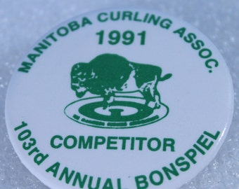 "1991 Manitoba Curling 103 Annual Bonspiel ~""Competitor"" Pin Back Button"