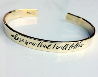 Where you lead, I will follow . Gilmore Girls Inspired Bracelet . Hand Stamped Metal Bracelet . Stars Hollow