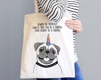 Unipug Tote Bag - Pug Lover Tote - Unicorn Lover Tote - Pug Bag