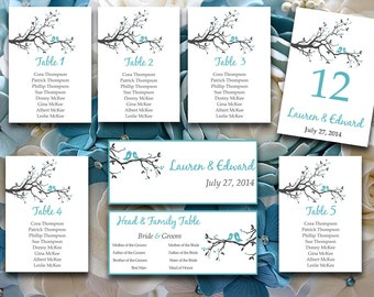 "Wedding Seating Chart Template - Love Bird Seating Chart Download - Blue Gray Table Number Card - ""Love Birds Branch"" Wedding Download"