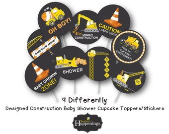 Construction Baby Shower, Construction Cupcake Toppers, Shower Cupcake Toppers by Busy bee's Happenings Digital File INSTANT DOWNLOAD