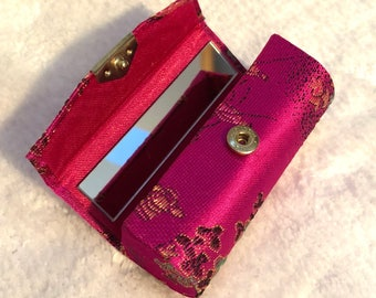 Asian Brocade Hot Pink Lipstick Case with Mirror - 90s Vibes