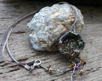 Gold/copper round pendant raku necklace