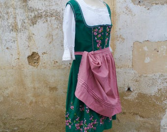 Vintage 1970/70s Tyrol Austria October fest embroidered dirndl dress+ white cotton mini blouse  +   apron /size L/XL