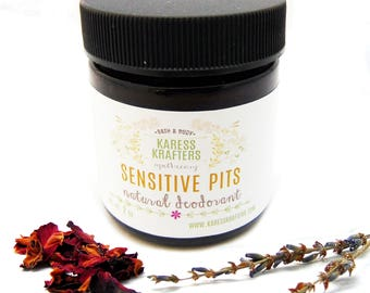 Sensitive Pit Natural Deodorant -  Aluminum Free - 24-Hour Protection - Shea Butter- Coconut Oil - Diatomaeceous Clay
