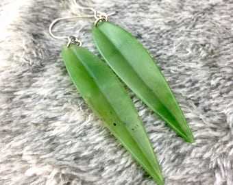 A+ Siberian Nephrite Jade Leaf Earrings - Sterling Silver
