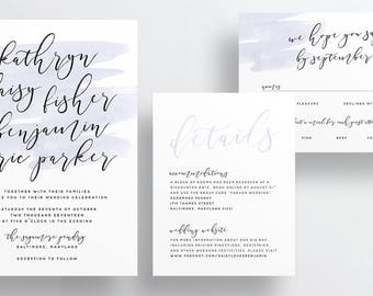 Simple Calligraphy Wedding Invites / Light Purple Watercolor / Semi-Custom Wedding Invitation Suite / Print-at-Home Invitations