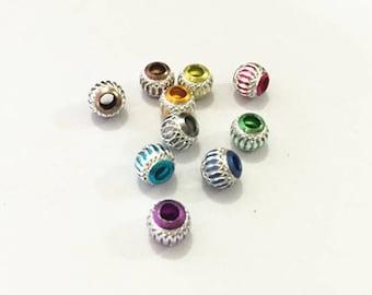 40pcs Mixed color  aluminum beads 8mm