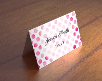 Pink wedding name cards template Polka dot table cards Wedding placecards Romantic seating cards diy Wedding place cards printable W5