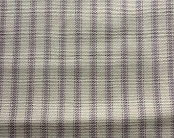 "Vintage Lavender Striped Ticking Fabric // 140"" x 60"", over 3 yds > pale purple stripes on ecru > cotton canvas ticking"