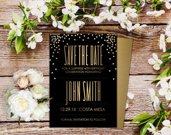 Birthday, Bridal Shower, Save the Date or Wedding Invitation - Shhh It's A Surprise Black with Gold Confetti - Qty 25