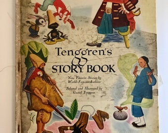 Vintage Children Book: Tenggren's Story Book. A Big Golden Book, 1948.  9 Famous Stories. Illustrated by Gustaf Tenggren. Kids book. Old.