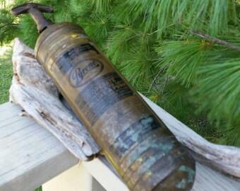 EMPTY Vintage Brass Pyrene Hand Pump Fire Extinguisher