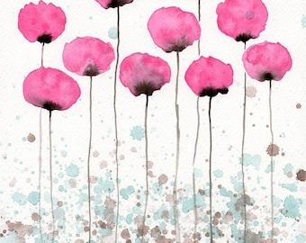 Watercolor Painting: Watercolor Flower Painting -- Art Print --  Flutter -- Pink Flowers -- 11x14