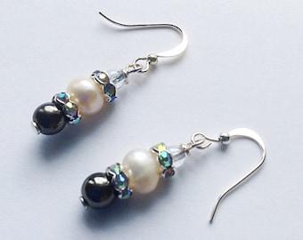 Wedding Earrings. Long Earrings. White Pearl Earrings. Glass Bead Earrings. Drop Earrings. Crystal Earrings, special Occasion Earrings.
