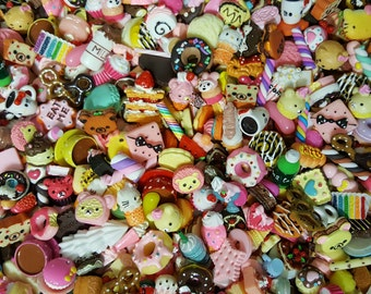 NEW Pcs. Sooo CUTE! Sweets & DESSERTS 25-100 pc. Grab Bags! Resin flat back,cabochon,DiY,decoden,cell phone case,hair bow centers