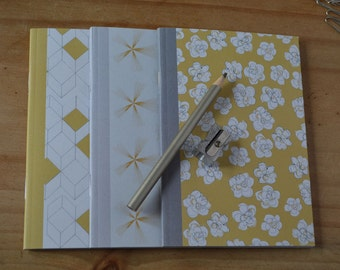 A6 Notebooks, pack of 3, mustard notebooks, patterned notebooks, lined paper, plain paper & square paper