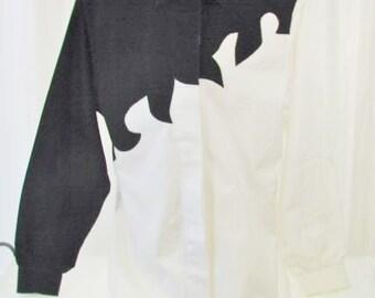 Roper Shirt Flame Design Black White Long Sleeve Small
