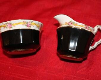 Vintage Black Cream and Sugar Set English Bone China Adderley China, Creamer Sugar Set Black Creamer and Sugar Set Tea Party Table