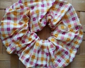 Hair Scrunchie-purple,orange,yellow checkered print