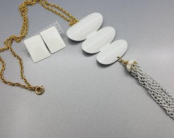 White Enamel Necklace Long Tassel Mid Century Mod and Pierced earrings
