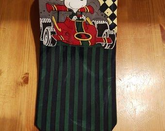 Retro novelty snoopy racing car driver tie vintage style