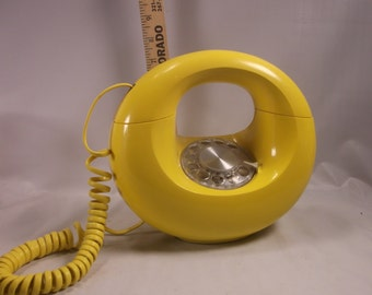 Bright Yellow Rotary Dial Sculptura Donut Phone ,retro mid century modern Western Electric .epsteam